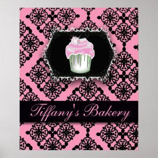 Affiche rose de promo de boulangerie de petit gâte