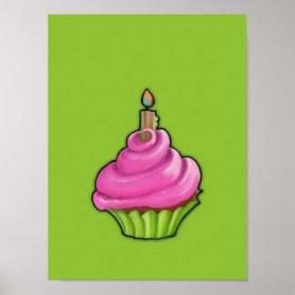 Affiche rose et verte de vert de petit gâteau