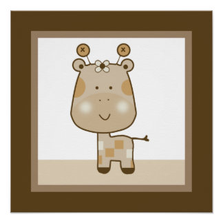 Affiche somnolente d art de mur de crèche de giraf