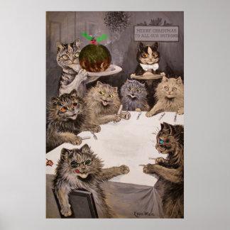 Affiche vintage de fête de Noël de chats de Louis