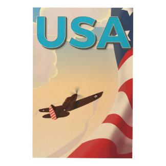 Affiche vintage de la deuxième guerre mondiale des impression sur bois