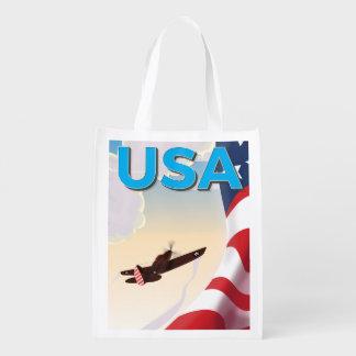 Affiche vintage de la deuxième guerre mondiale des sac réutilisable d'épcierie
