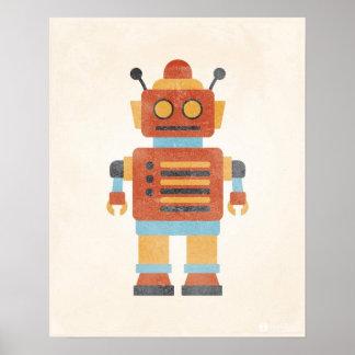 Affiche vintage de robot