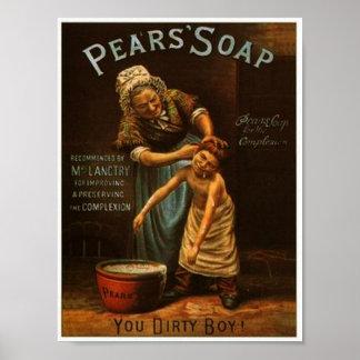 Affiche vintage de savon de poires