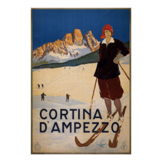 Affiche vintage de voyage - Cortina d Ampezzo