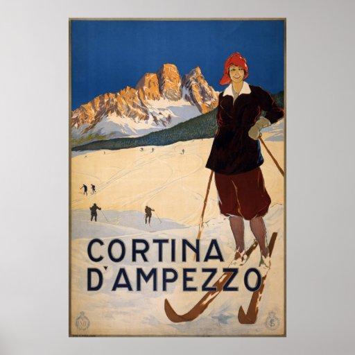 Affiche vintage de voyage - Cortina d'Ampezzo