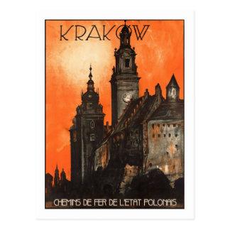 Affiche vintage de voyage, Cracovie Carte Postale