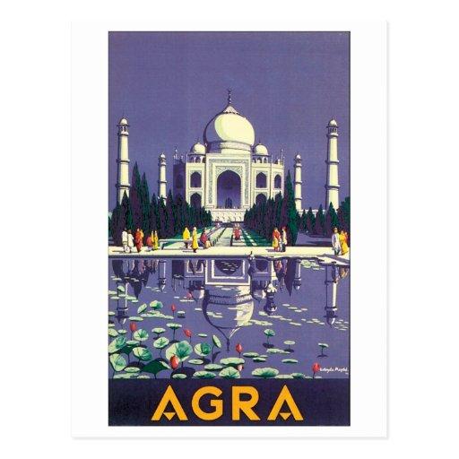 Affiche vintage de voyage d'Âgrâ Carte Postale