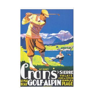 Affiche vintage de voyage d'Alpin de golf Toile Tendue
