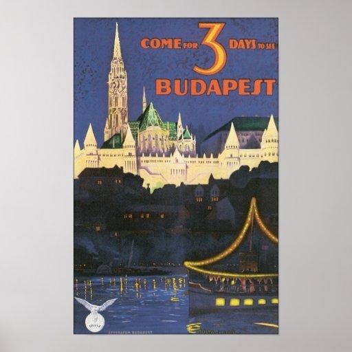 Affiche vintage de voyage de Budapest