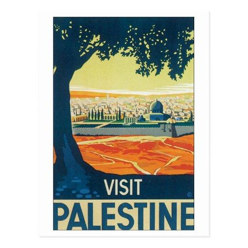 Affiche vintage de voyage de la Palestine de visit Cartes Postales