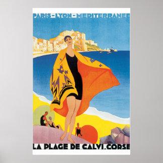 Affiche vintage de voyage de la plage De Calvi