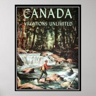Affiche vintage de voyage de vacances du Canada