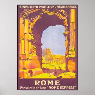 Affiche vintage exprès de voyage de Rome