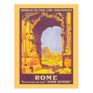Affiche vintage exprès de voyage de Rome Carte Postale