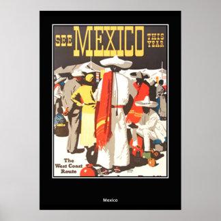 affiche vintage Mexique d'impression de voyage