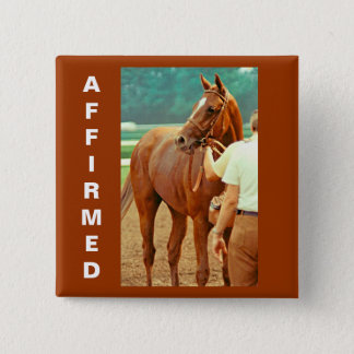 Affirmed Thoroughbred Racehorse 1978 2 Inch Square Button