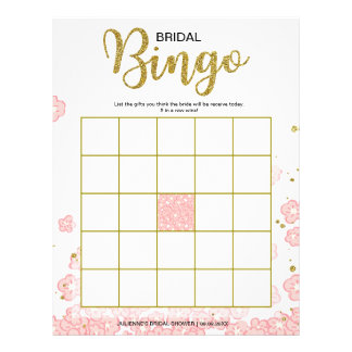 Affordable Bridal Shower Bingo | Pink and gold Personalized Flyer