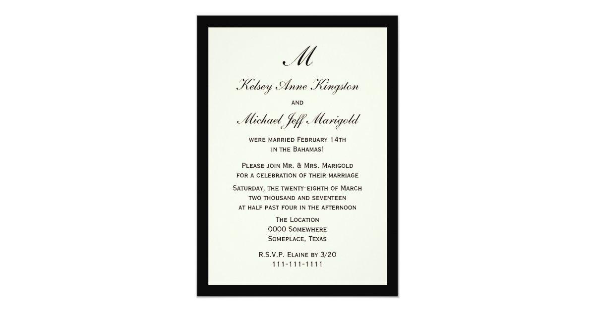 Affordable Cheap Post Wedding Reception Cream 5 X 7 Invitation Card