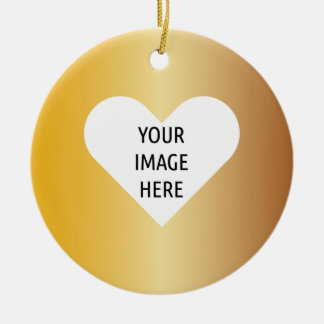 Affordable golden heart gifts template round ceramic ornament