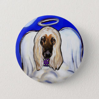 Afghan Hound Angel 2 Inch Round Button