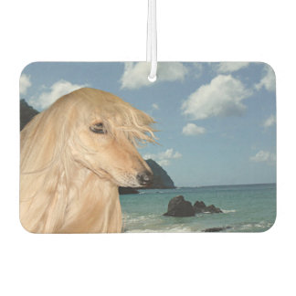 Afghan Hound at the beach Car Air Freshener