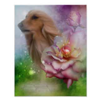 Afghan Hound Face Fantasy Flowers Dog Poster