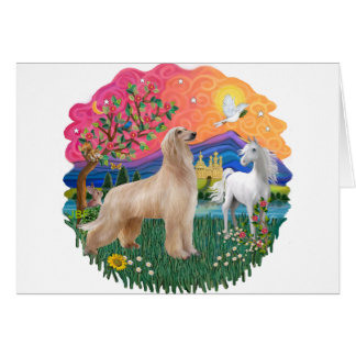 Afghan Hound (fawn, standing) Card