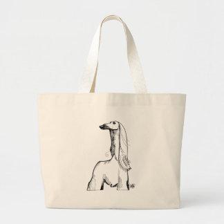 Afghan Hound Gesture Sketch Large Tote Bag