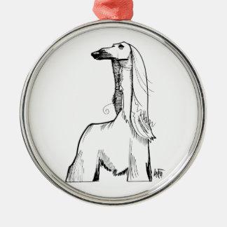 Afghan Hound Gesture Sketch Metal Ornament