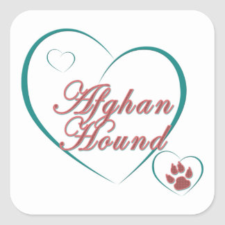 Afghan Hound Love Paw Print Heart Square Sticker