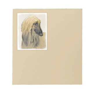 Afghan Hound Painting - Cute Original Dog Art Notepad