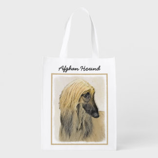 Afghan Hound Painting - Cute Original Dog Art Reusable Grocery Bag