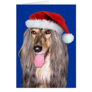 Afghan Hound Santa Claus - Customized Card