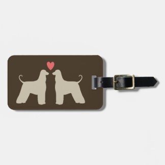 Afghan Hound Silhouettes with Heart Luggage Tag