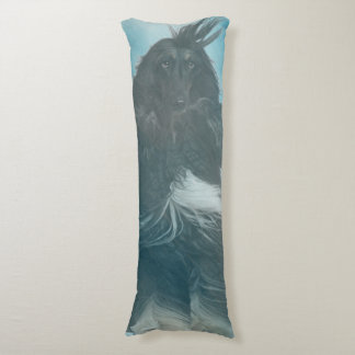 Afghan Hound Wind and Rain Blown Body Pillow
