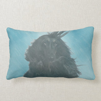 Afghan Hound Wind and Rain Blown Lumbar Pillow
