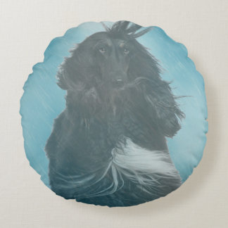 Afghan Hound Wind and Rain Blown Round Pillow