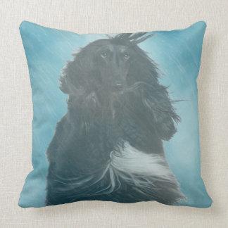 Afghan Hound Wind and Rain Blown Throw Pillow