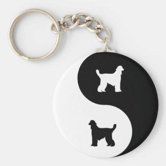 Afghan Hound Yin Yang Basic Round Button Keychain