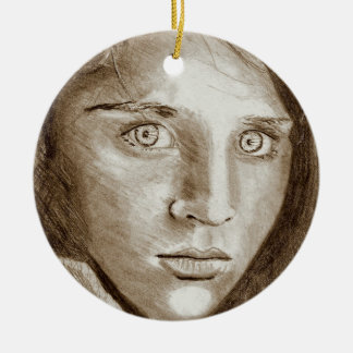 Afghan Refugee Girl, My Pencil Drawing 2004 Ceramic Ornament