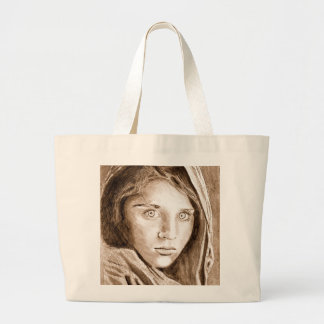 Afghan Refugee Girl Sepia Drawing Jumbo Bag