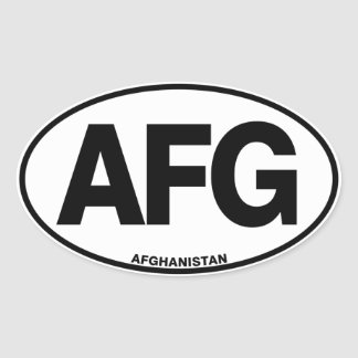 Afghanistan AFG Oval Euro Style Identity Letters Oval Sticker