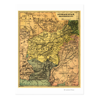 Afghanistan and Surrounding Countries Map Postcard