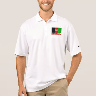 Afghanistan Flag Red Text Polo Shirt
