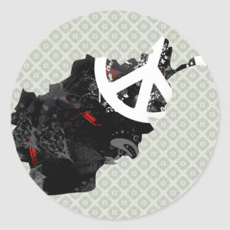 Afghanistan Trendy Peace Sign with Afghan map Classic Round Sticker