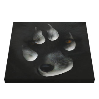 AFIPP Arctic Fox in Paw Print Stretched Canvas Prints