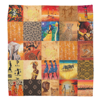 Africa Art Daily Life colorful orange red blue Bandanna