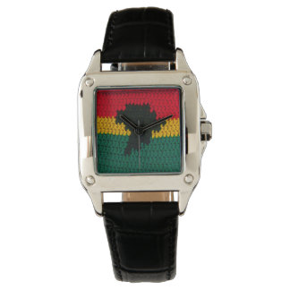 Africa Black Red Gold Green Crochet Leather Strap Watch