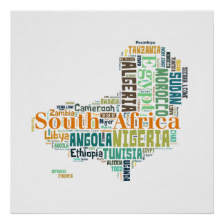 Africa Cities Word Art Poster